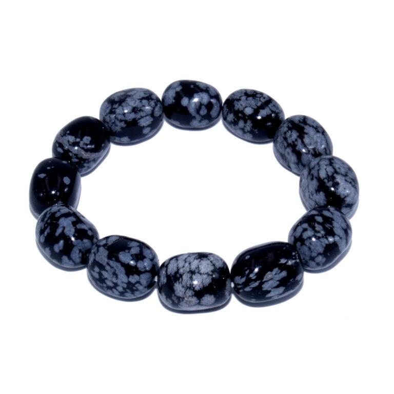 bracelet pierres ovale obsidienne neige