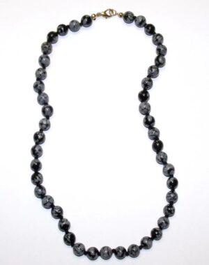 collier obsidienne neige boules